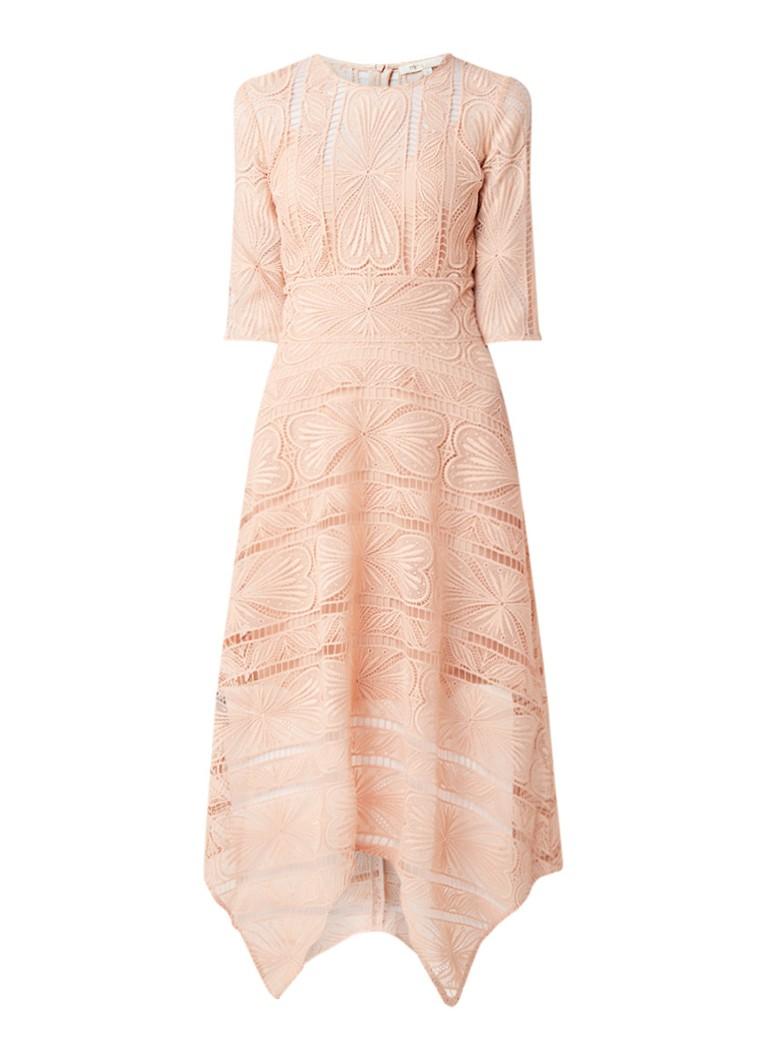 Maje Ripas A-lijn jurk van guipure kant lichtroze