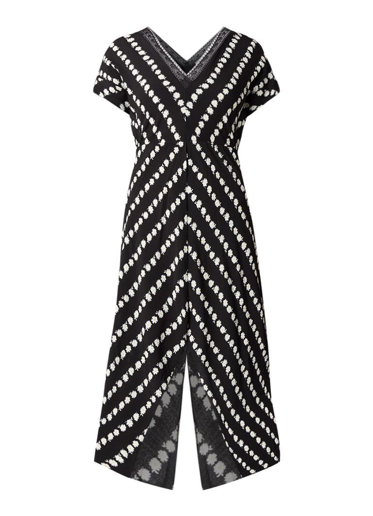 Maje Ritta A-lijn jurk met bloemendessin zwart