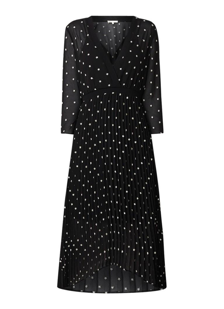 Maje Rivolio semi-transparante midi-jurk met borduring zwart