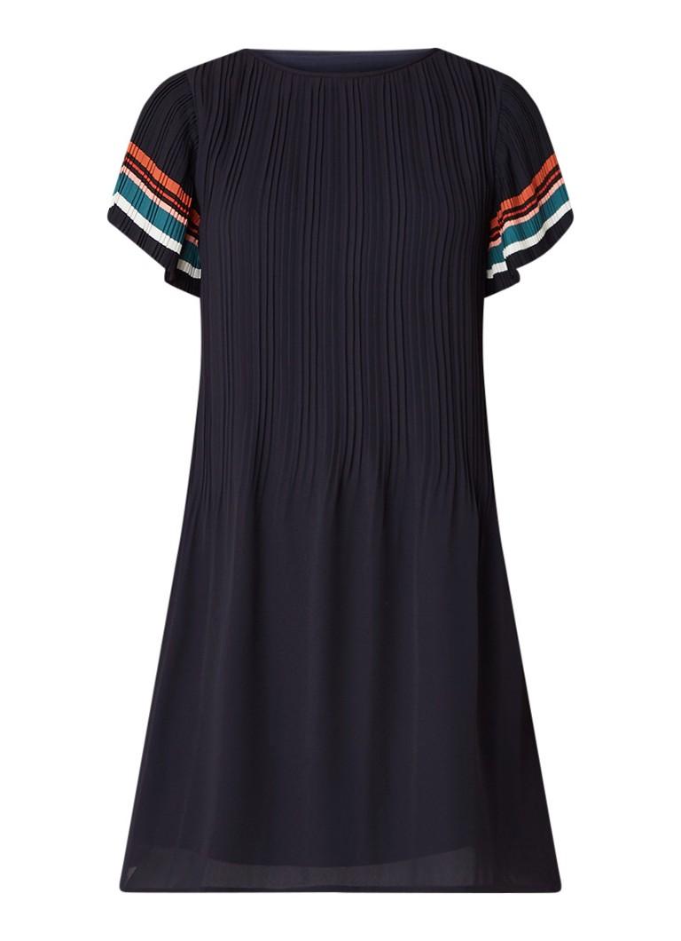 Maje Rolini tuniekjurk met plissé en streepdetail donkerblauw