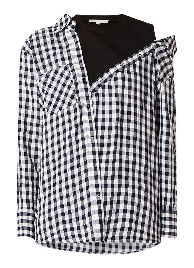 Maje Livie blouse met ruitdessin en jersey inzet
