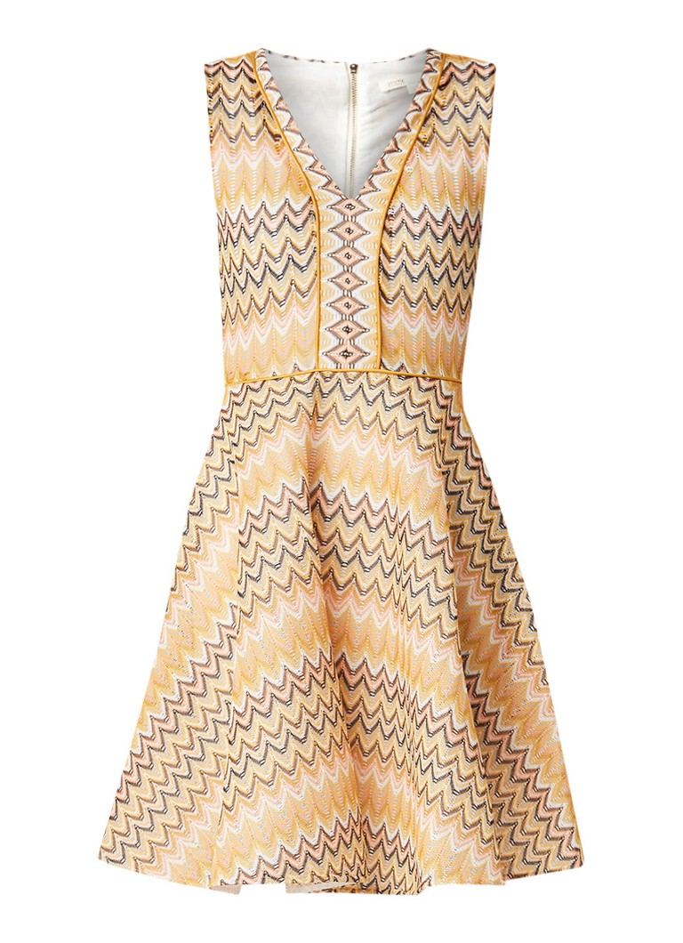 Maje Reinetta midi-jurk met ingeweven dessin lichtgeel