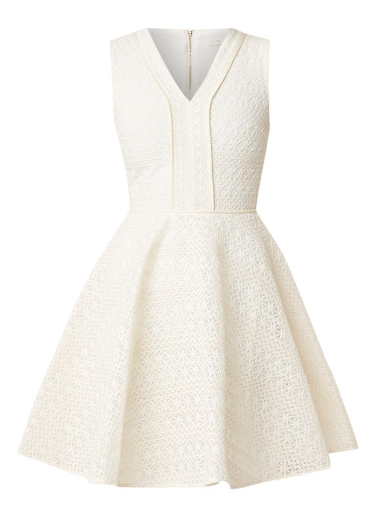 Maje Reinette mouwloze midi-jurk van kant gebroken wit