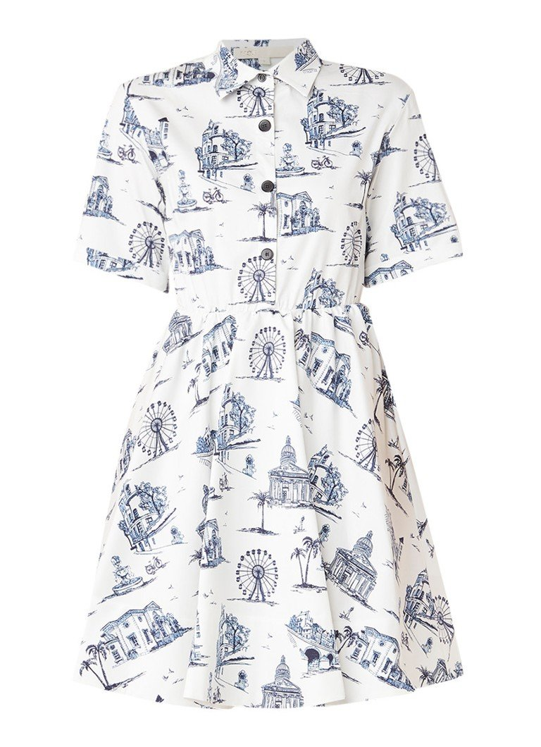 Maje Rapomi A-lijn blousejurk met dessin wit