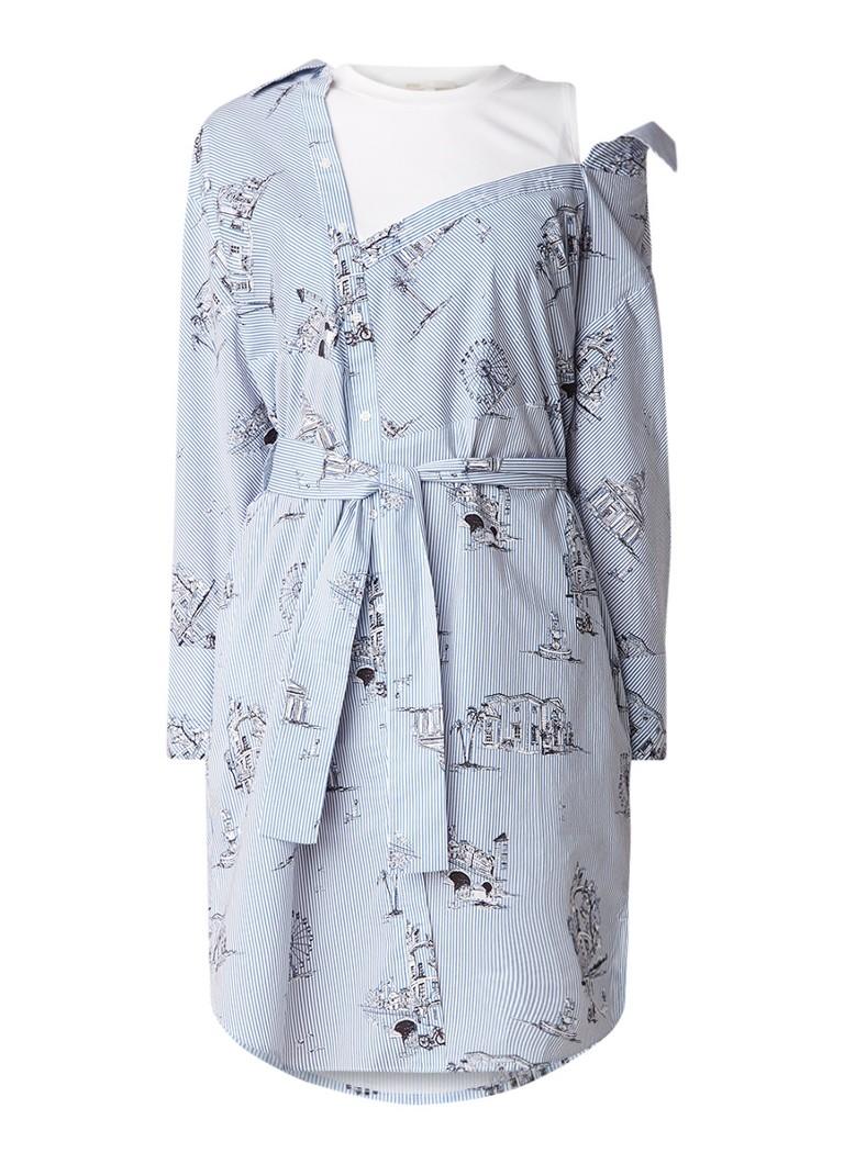 Maje Rasane blousejurk met dessin en strikceintuur lichtblauw
