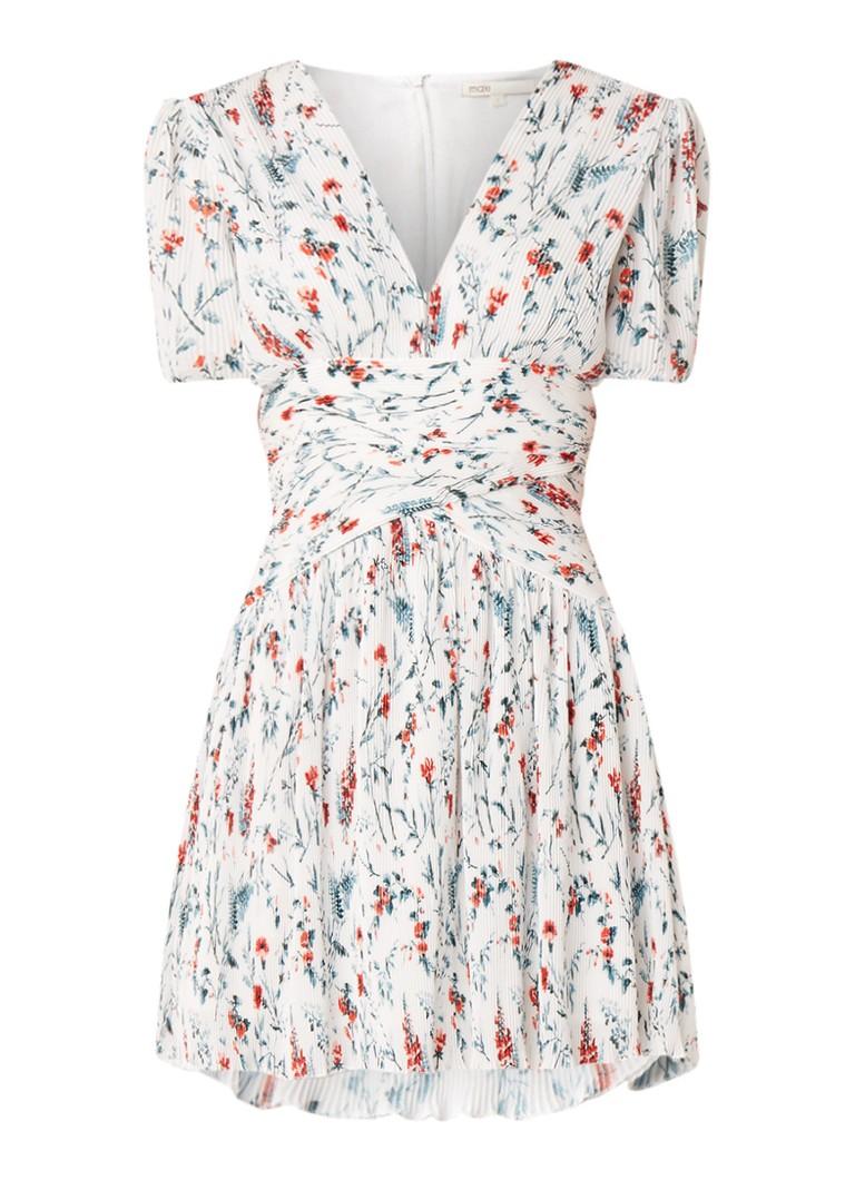 Maje Herbier mini-jurk met bloemendessin en plissé wit