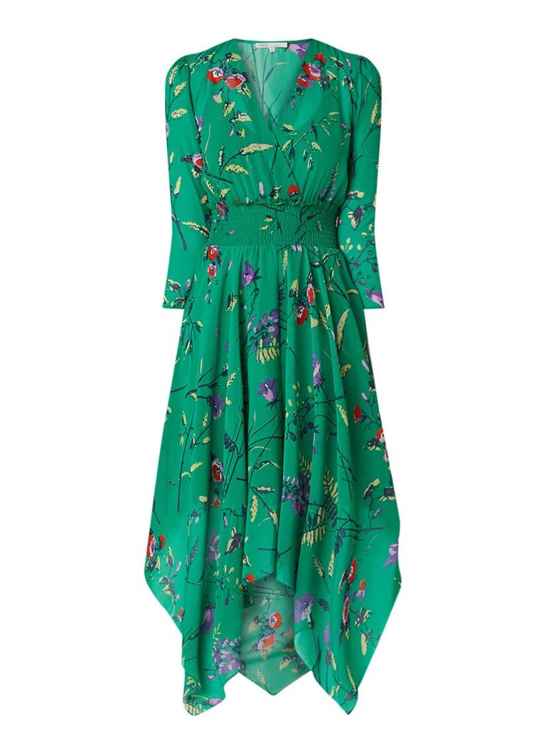 Maje Rayema midi-jurk met smockwerk en bloemendessin groen