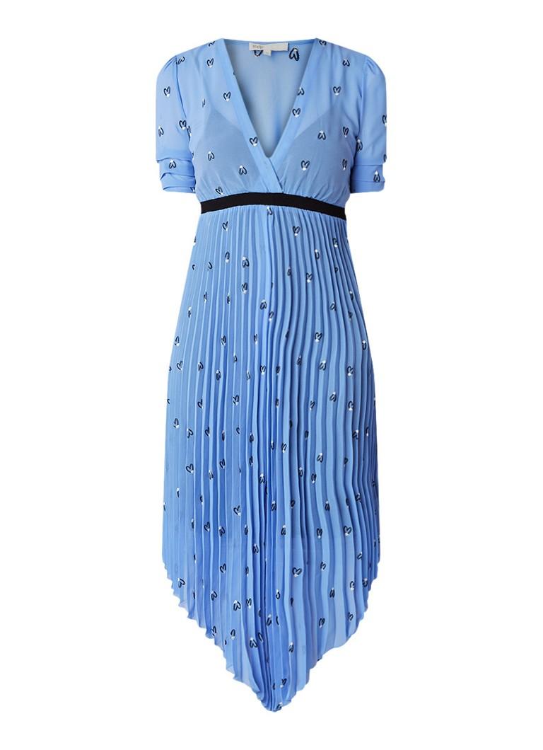 Maje Rengo plisséjurk met harten borduring lichtblauw