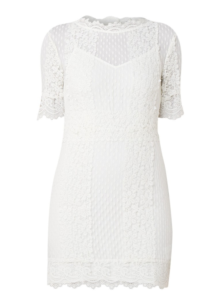 Maje Revanta mini-jurk van kant met onderjurk gebroken wit