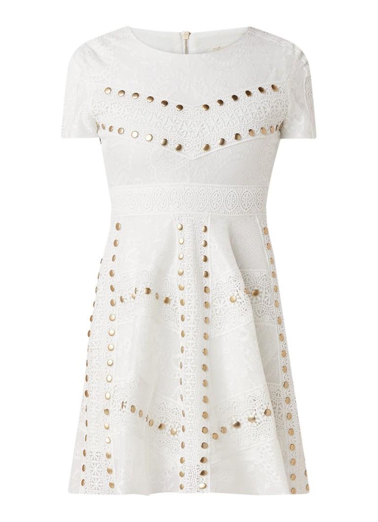 Maje Rista mini-jurk van kant met studs wit