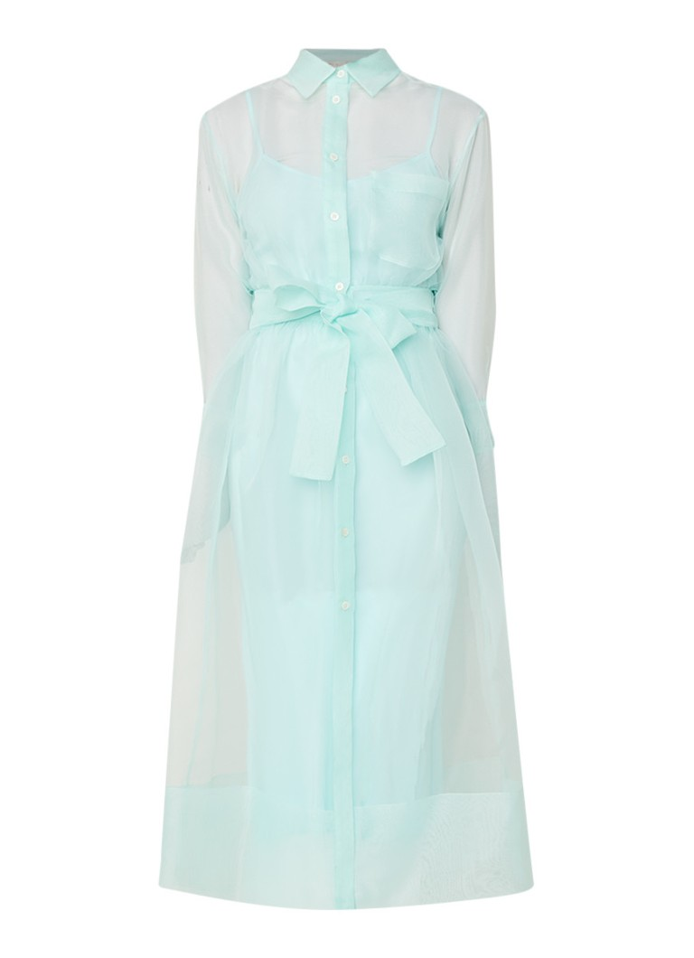 Maje Roane semi-transparante midi-jurk met knoopsluiting mint
