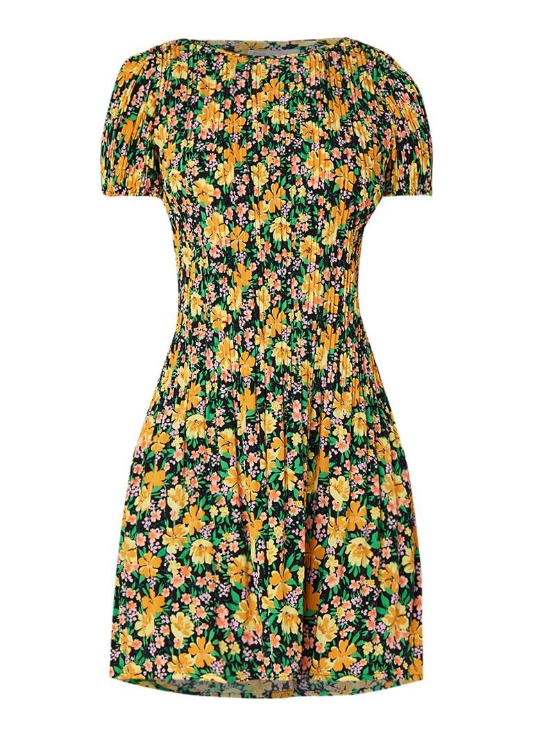 Maje Rockinie mini-jurk met bloemendessin en plissé geel