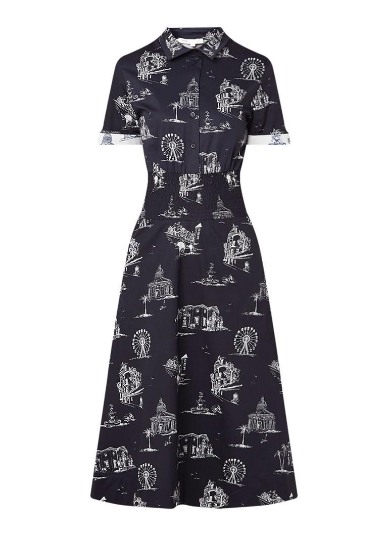 Maje Romila midi A-lijn blousejurk met dessin zwart