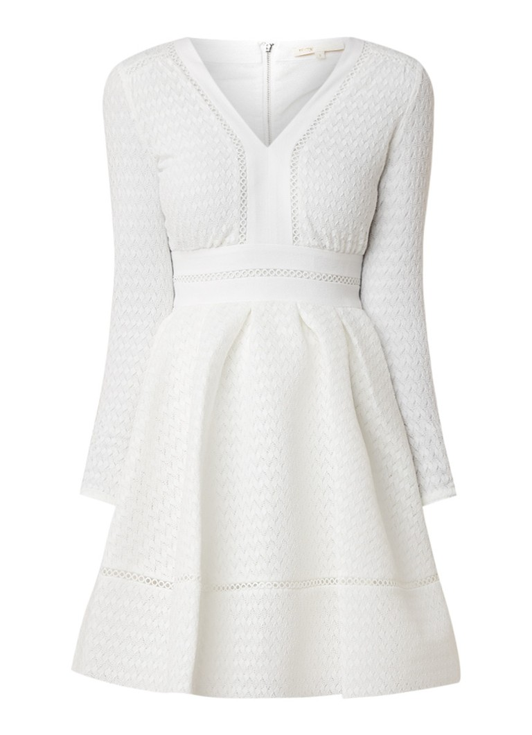 Maje Rossignol midi-jurk van kant met broderie wit