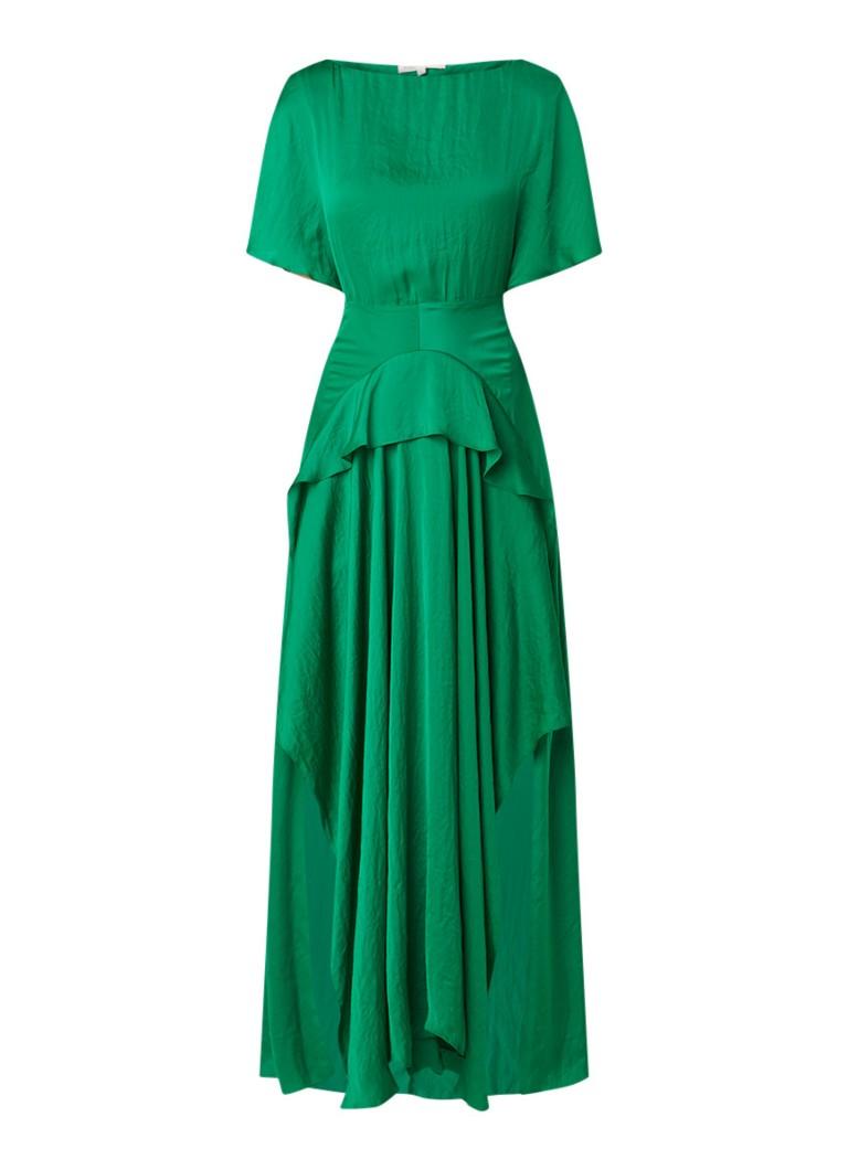Maje Rovana maxi-jurk van satijn met volant groen