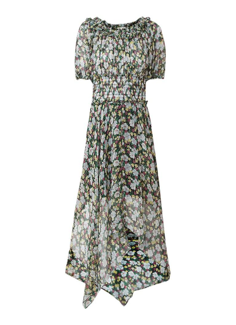 Maje Rulli midi-jurk van zijde met bloemendessin donkergroen