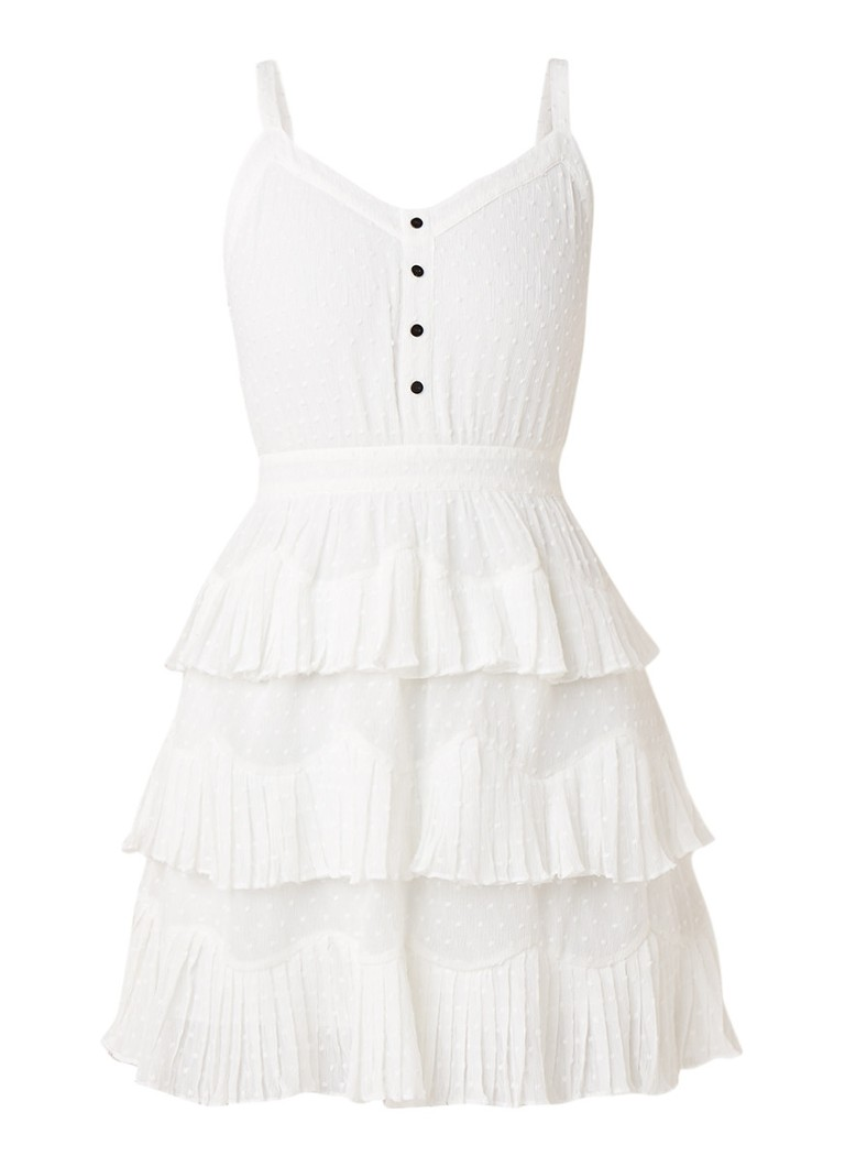 Maje Rustivan gelaagde mini-jurk met sierknopen wit