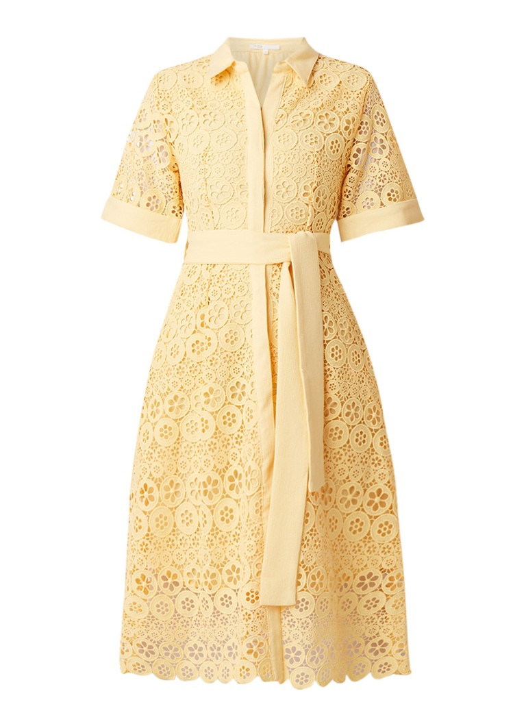 Maje Ralfa blousejurk van gebloemd guipure kant met strikceintuur geel