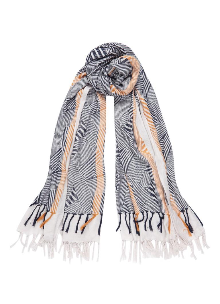 Expresso Anouska sjaal met dessin 180 x 120 cm zwart