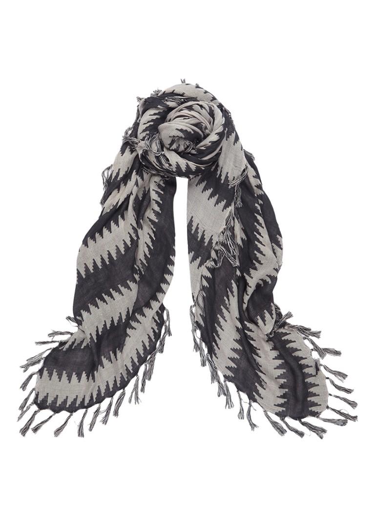 Expresso Carissa sjaal met dessin 135 x 135 cm zwart