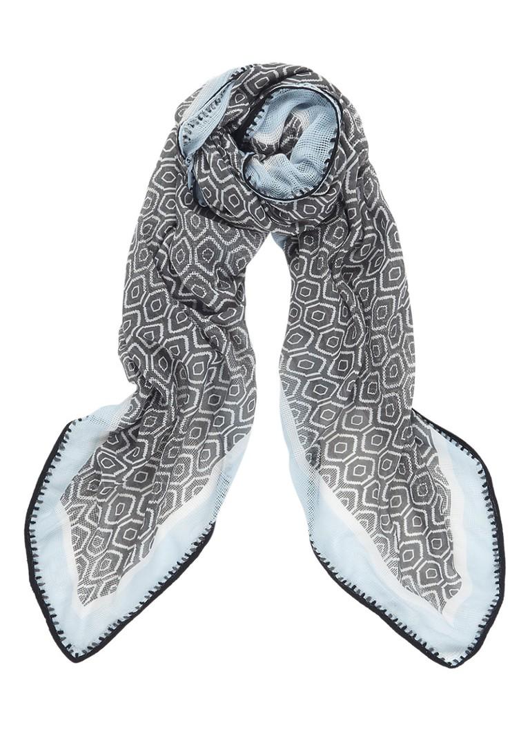 Expresso Dolores sjaal met dessin 130 x 130 cm zwart