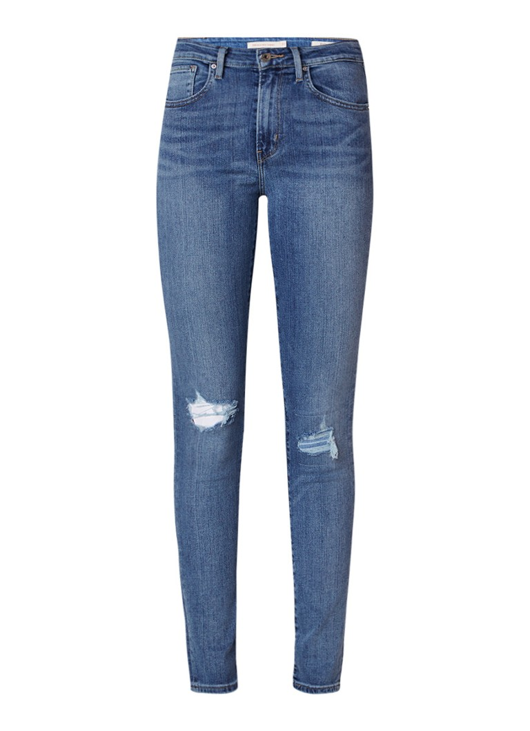Levi's 721 high rise skinny fit jeans met destroyed detail