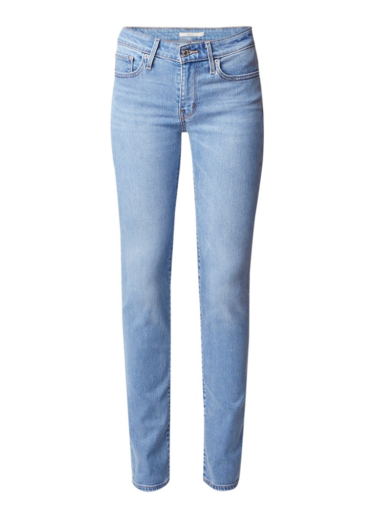 Levi's 712 high rise slim fit jeans met lichte wassing