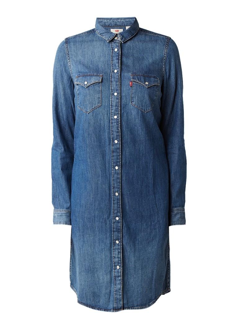 Levi's Iconic Western denim blousejurk met drukknoopsluiting