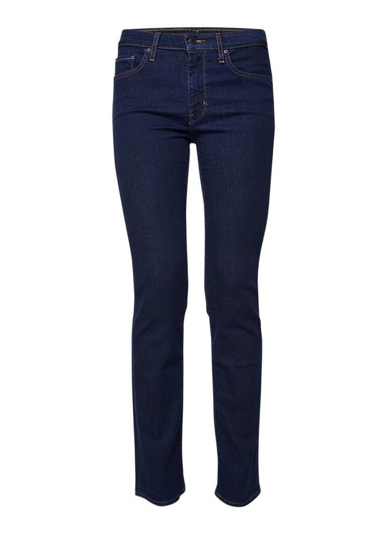 Levi's 714 high rise straight fit jeans met donkere wassing