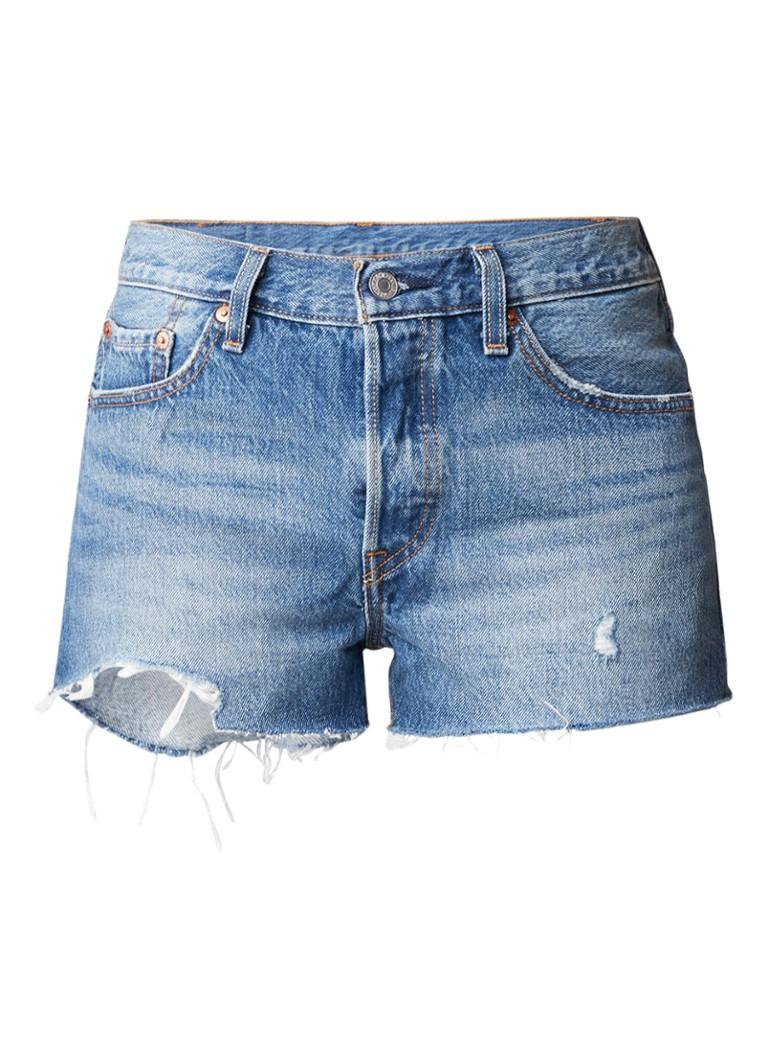 Levi's 501 high rise denim shorts met gerafelde afwerking