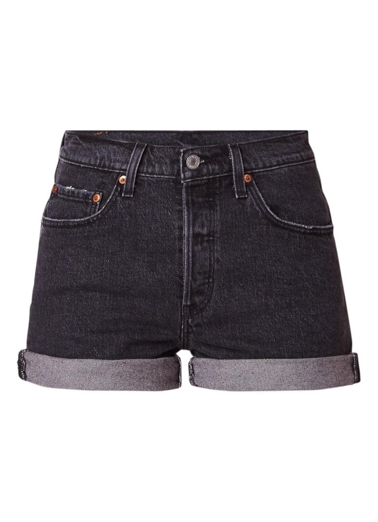 Levi's 501 high rise denim shorts met omslag