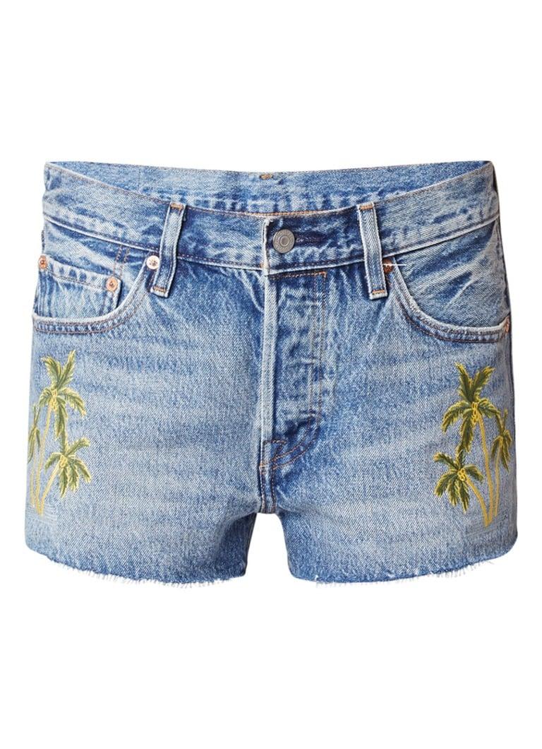 Levi's 501 High rise denim shorts met palmboom borduring