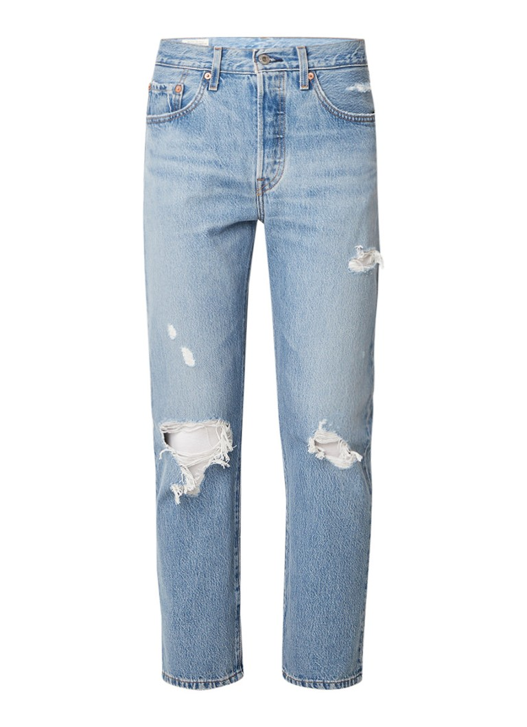 Levi's 501 high rise cropped jeans met destroyed look