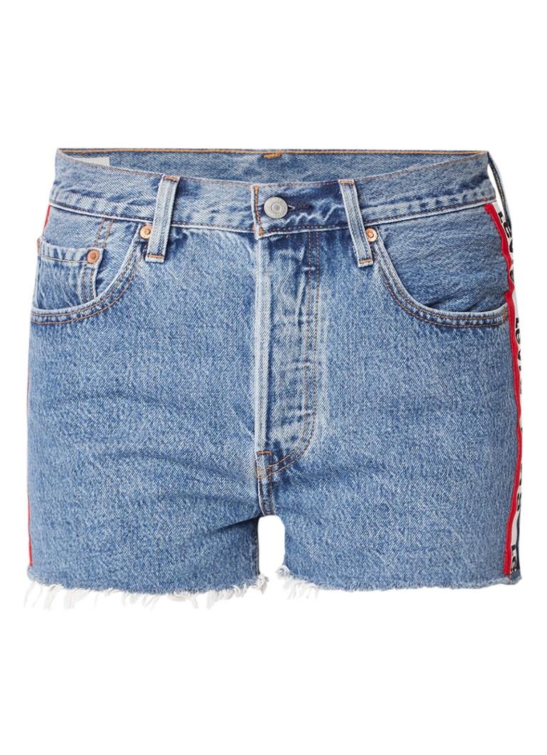 Levi's 501 high rise denim shorts met logoband