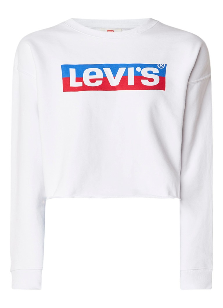 Levi's Cropped sweater met logoprint en gekrulde zoom