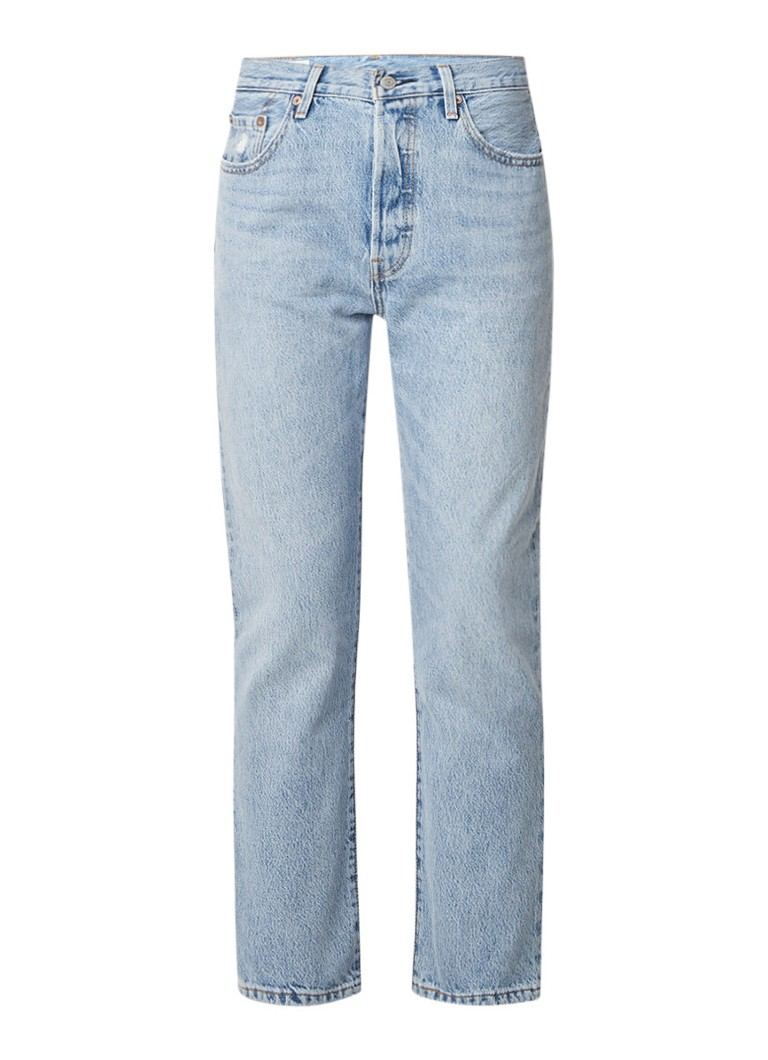 Levi's 501 cropped mom jeans in lichte wassing