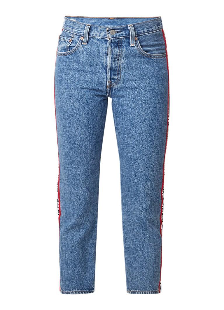 Levi's 501 cropped slim fit jeans met logoband
