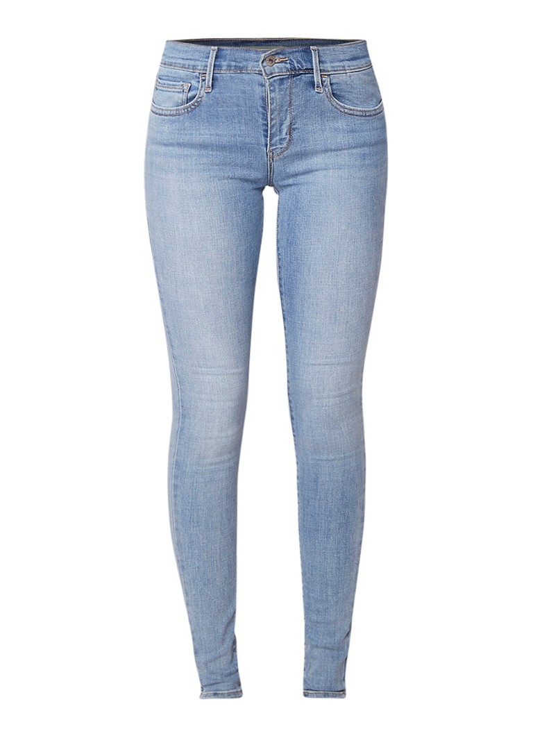 Levi's 710 mid rise super skinny jeans met lichte wassing
