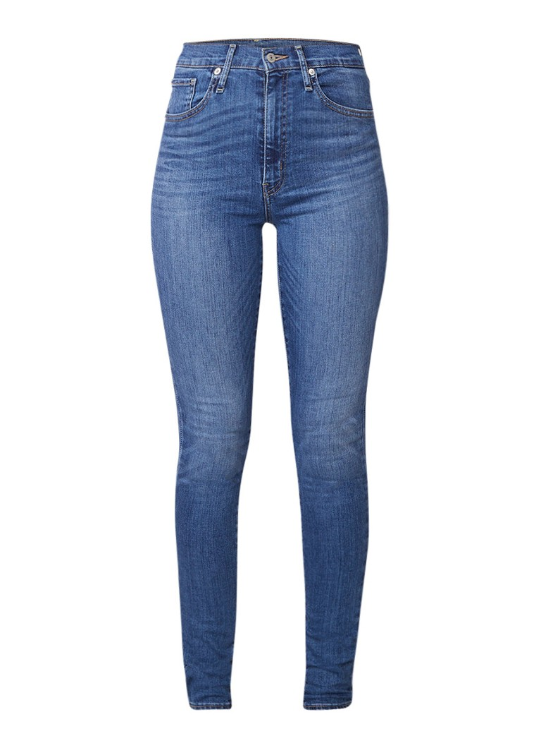 Levi's Mile High extra high rise super skinny jeans met medium wassing