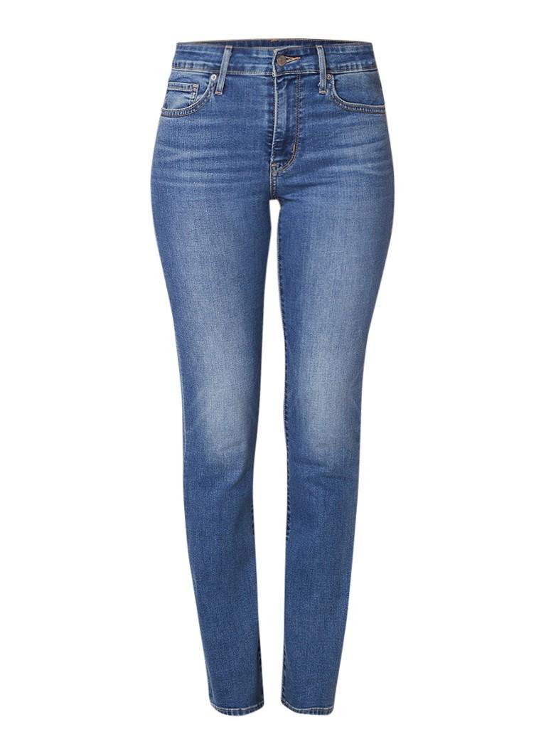 Levi's 712 mid rise slim fit jeans met medium wassing