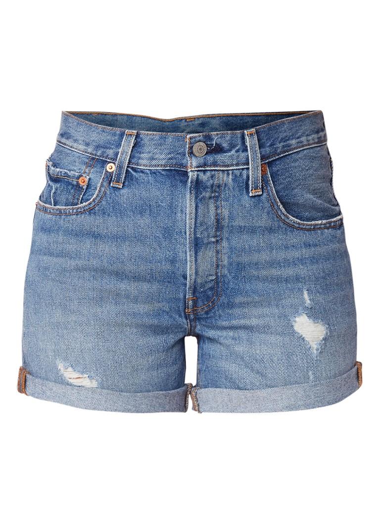 Levi's 501 high rise denim shorts met destroyed details