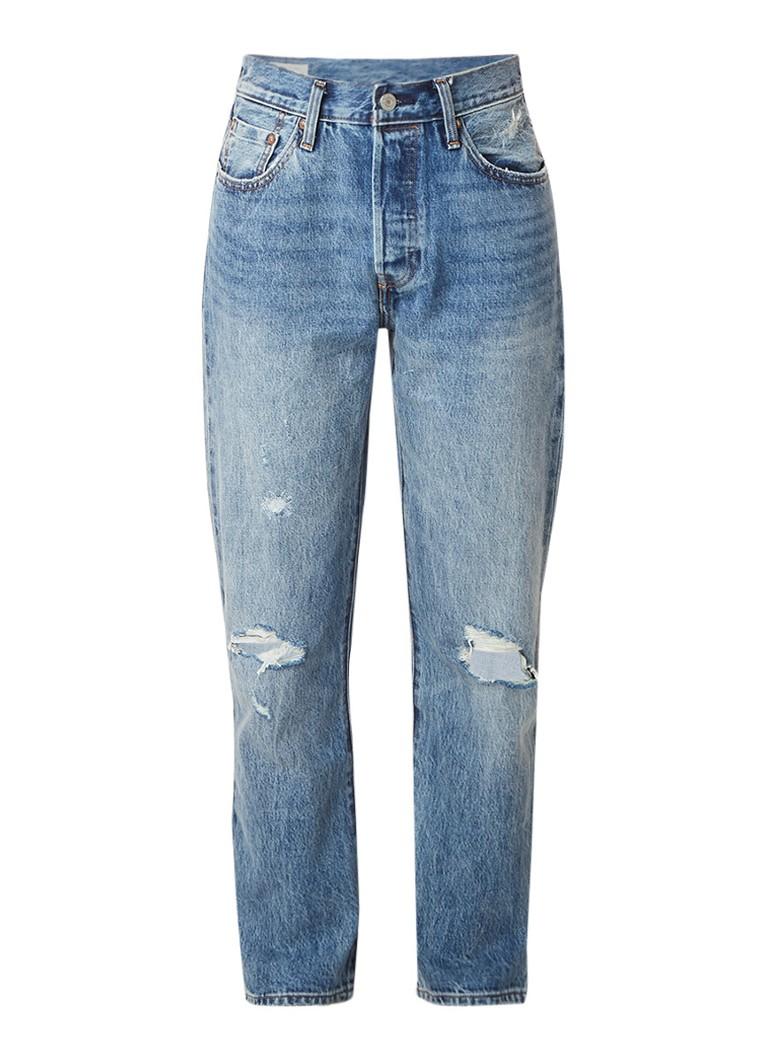 Levi's 501 cropped high rise regular fit jeans met destroyed detail
