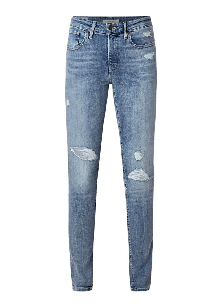 Levi's 721 high rise skinny jeans met destroyed detail