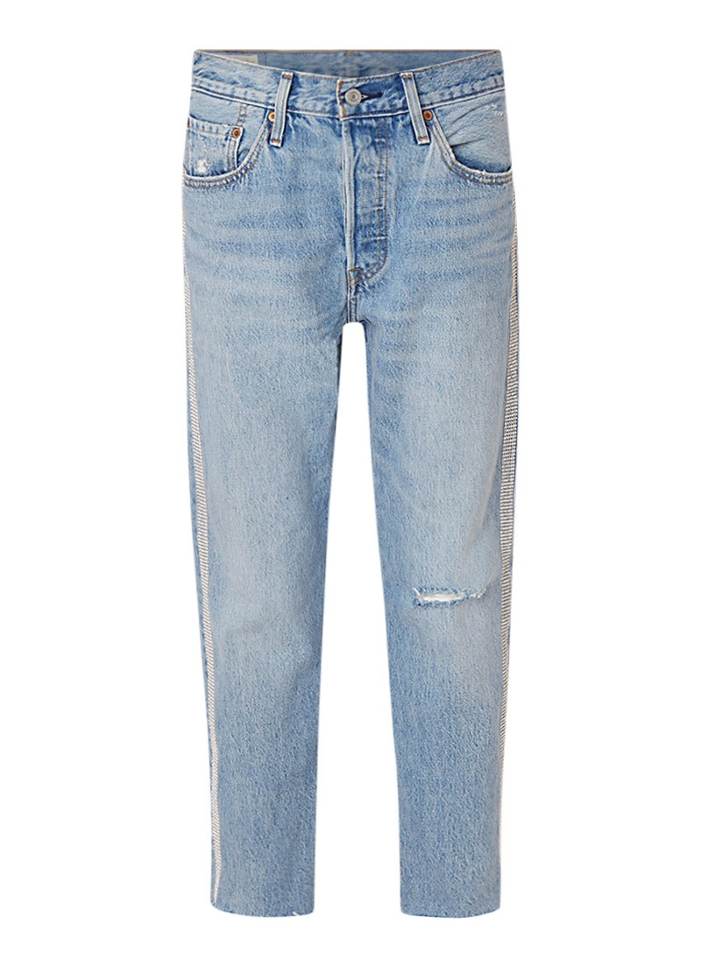Levi's 501 cropped straight fit high rise jeans met strass