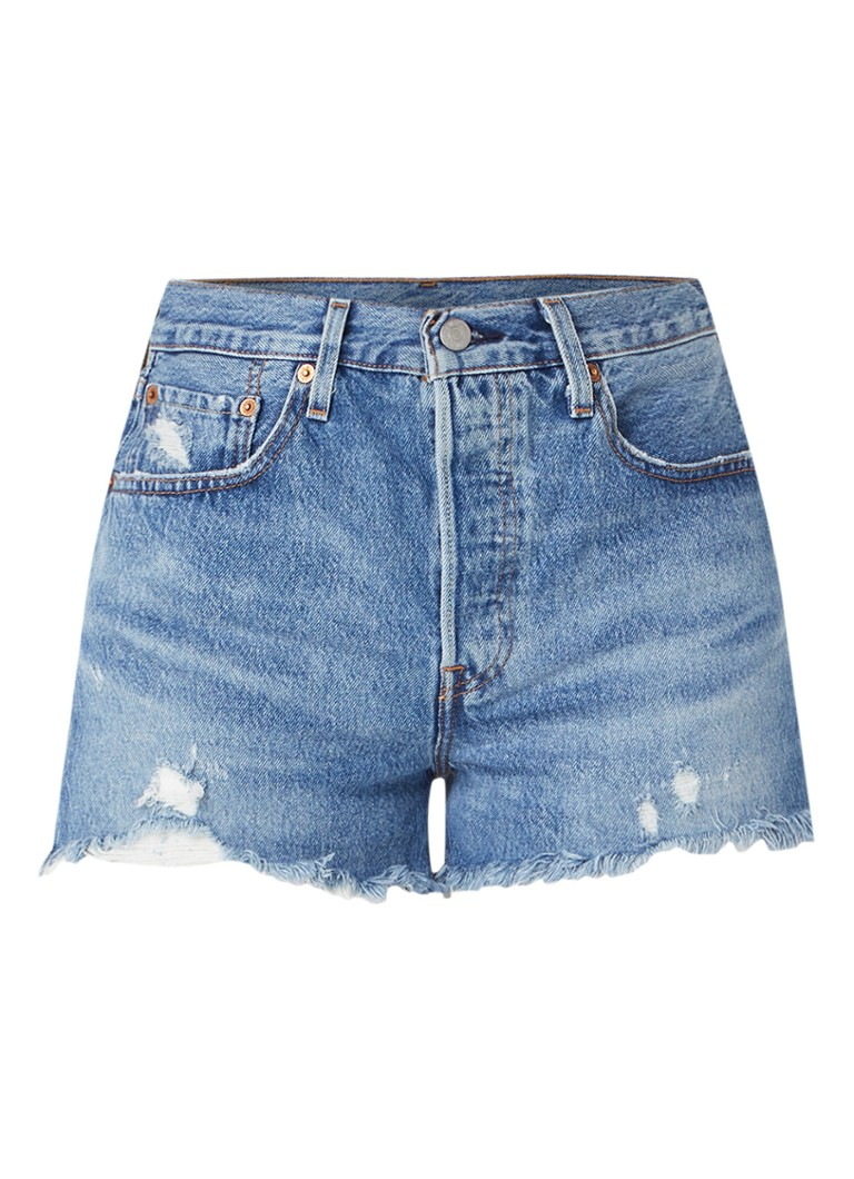 501 High waist jeans shorts met gerafelde zoom