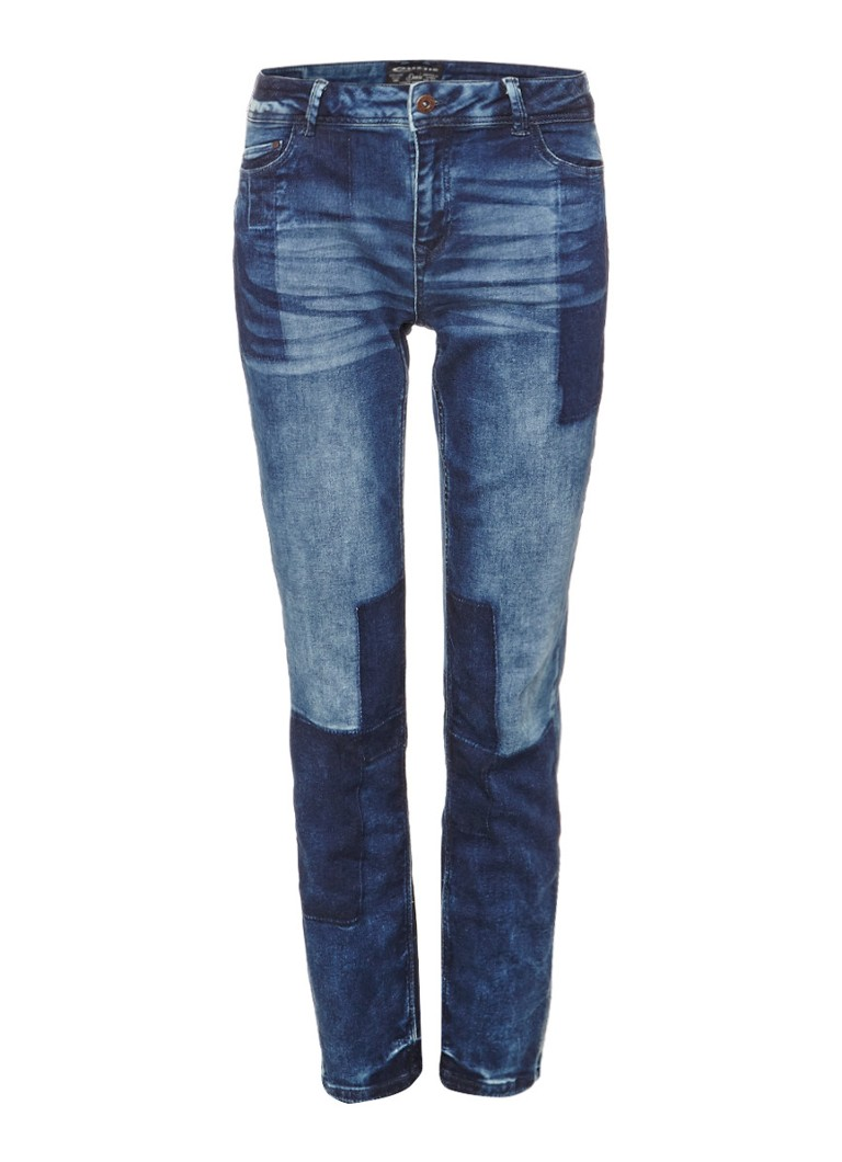 Expresso Abke mid rise relaxed fit patchwork jeans zwart