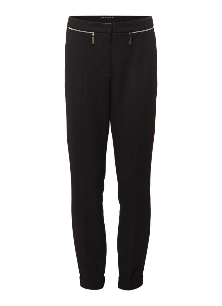 Expresso Babette cropped pantalon met ritszakken zwart