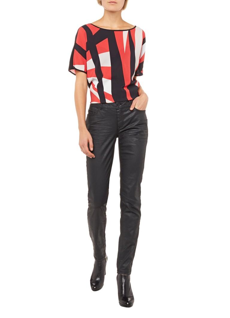 Expresso Bonne skinny fit jeans met coating zwart