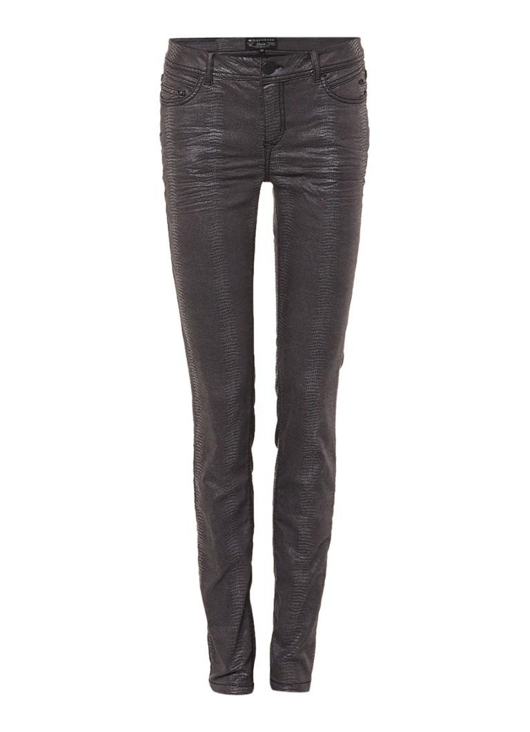 Expresso Candice skinny jeans met slangendessin en coating zwart