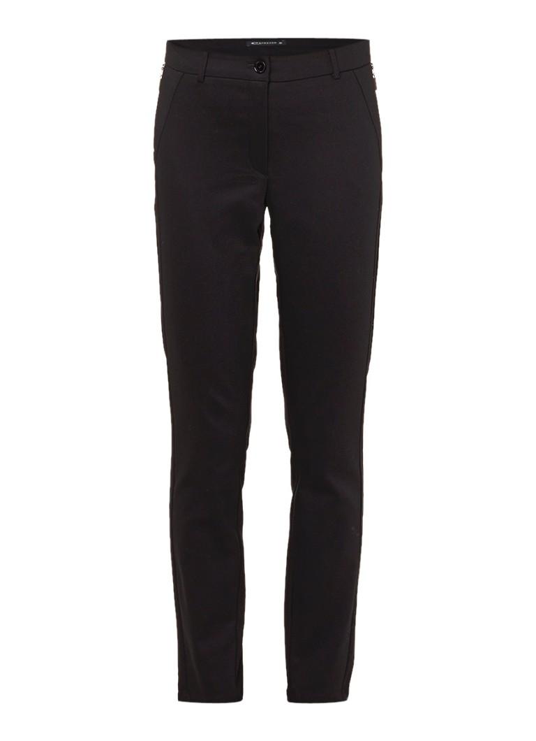 Expresso Darosa cropped pantalon met ritszakken zwart